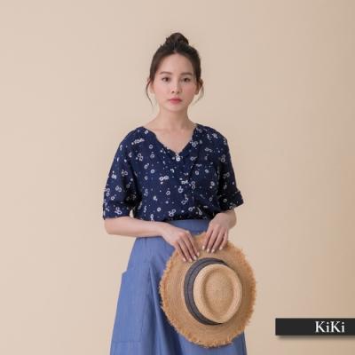 【KiKi】日系碎花搭配-襯衫(藍色/版型適中)