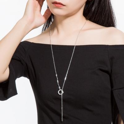 梨花HaNA 韓國甜美光澤鏤空圈圈Y型長項鍊 (二色選)