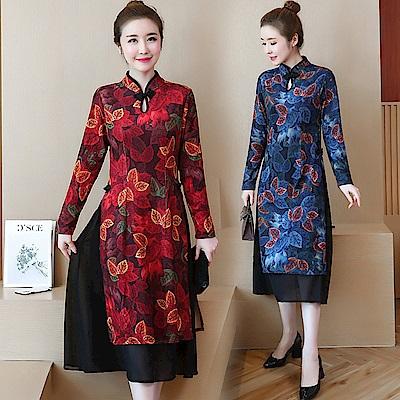 彩葉東方復古改良式旗袍連身裙(共二色)-REKO