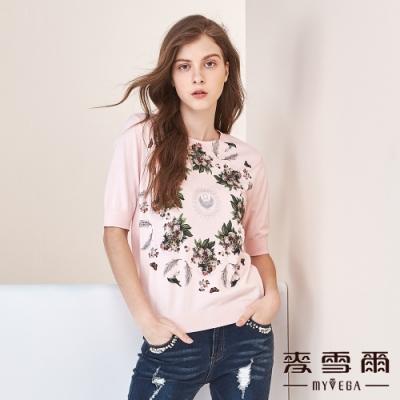 【麥雪爾】法式優雅藝術花卉印花針織衫