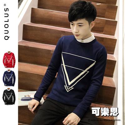 可樂思 學院風 倒三角圖樣 修身 男生薄針織衫 毛衣