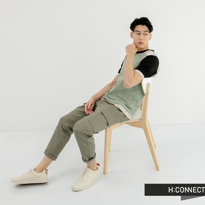 H:CONNECT 韓國品牌 男裝-大口袋抽繩工裝長褲-軍綠