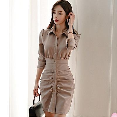 DABI 韓系氣質修身時尚抽褶包臀裙性感襯衫長袖洋裝