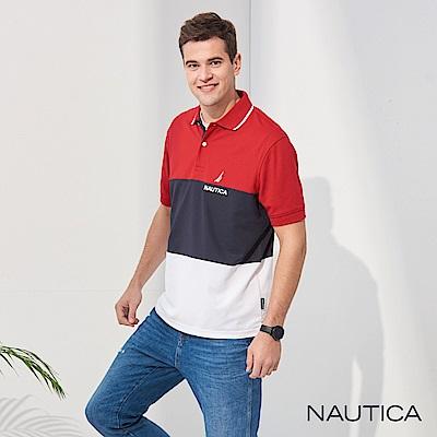 Nautica 三色拼接吸濕快乾短袖POLO衫-紅藍