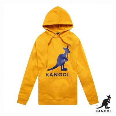 【KANGOL】Oversize大LOGO連帽上衣/帽T-男-黃