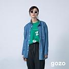 gozo 顛倒設計口袋壓線丹寧襯衫(二色)