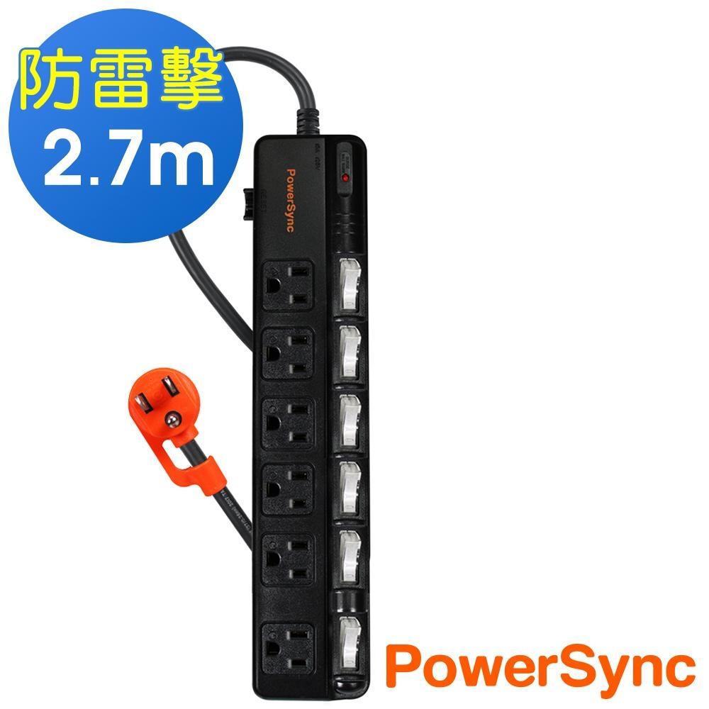 群加 PowerSync 六開六插斜面防雷擊延長線/2.7m(TPS366BN0027)