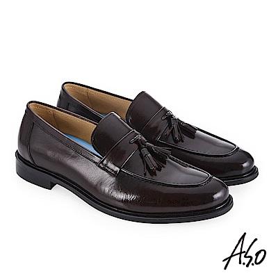 A.S.O 菁英通勤 流蘇裝飾時尚混搭真皮鞋 咖啡