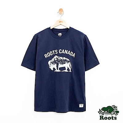 男裝Roots 動物系列燙金短袖T恤-藍