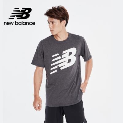 【New Balance】NB DRY科技棉Logo短袖上衣_男性_黑色_AMT01071BK