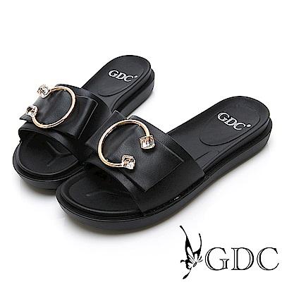 GDC-質感路線高雅倒C扣水晶蝴蝶結扣飾簡約拖鞋-黑色