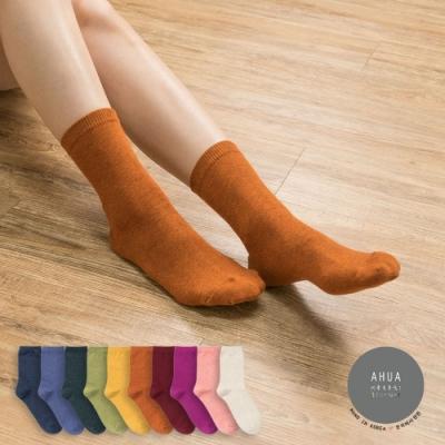 阿華有事嗎  韓國襪子 秋冬純色中筒襪  韓妞必備 正韓百搭純棉襪