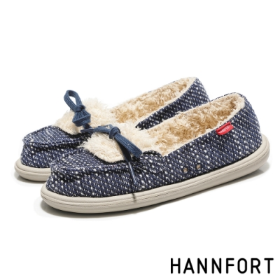 HANNFORT COZY毛呢珊瑚絨樂福鞋-女-深海藍(8H)