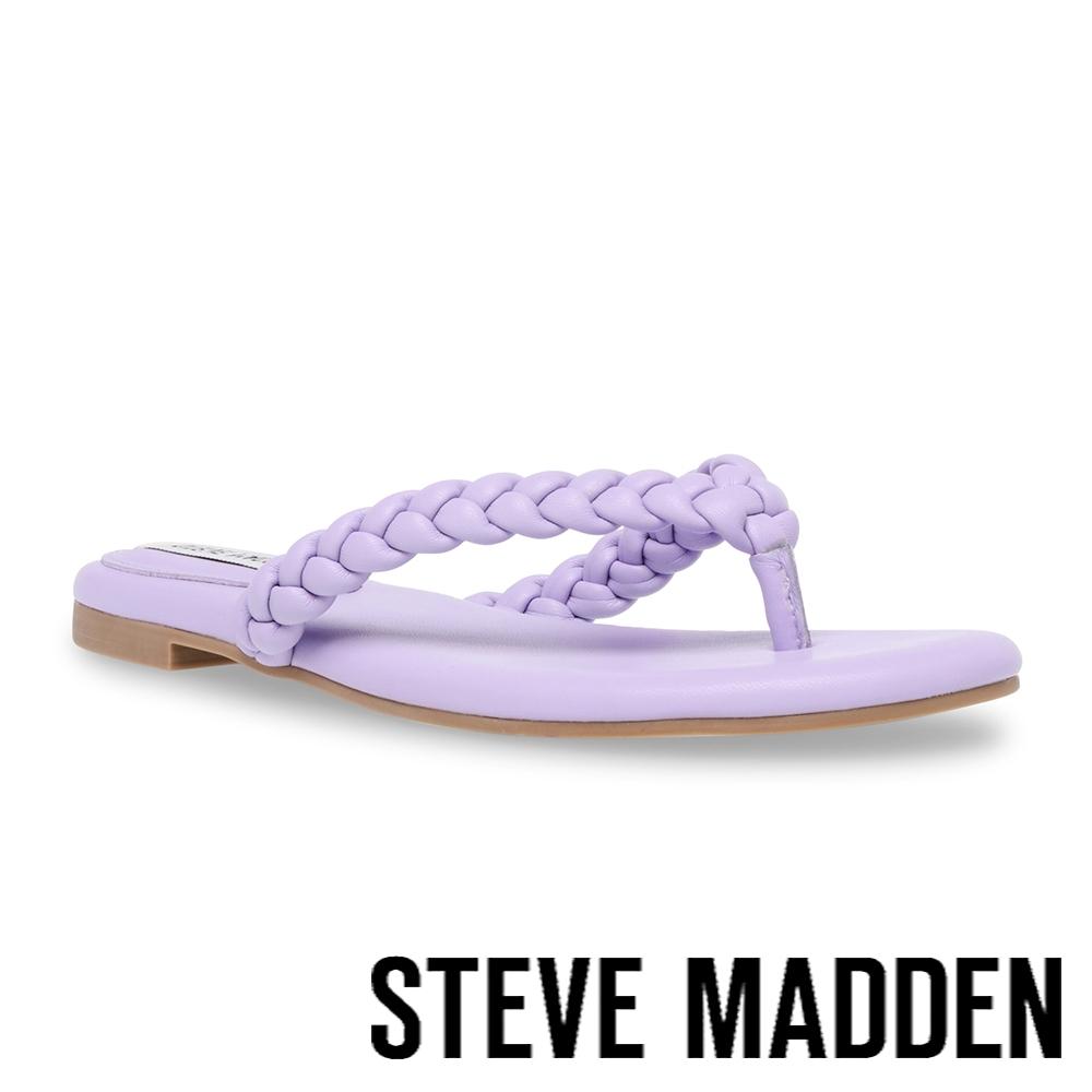 STEVE MADDEN-NIBBLE 編織夾腳涼拖鞋-紫色