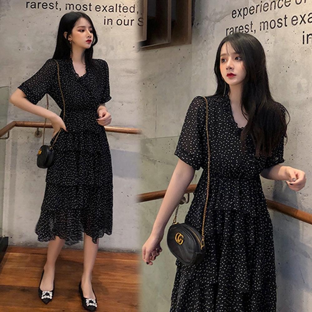 【韓國K.W.】復古風簡約名媛洋裝-2色