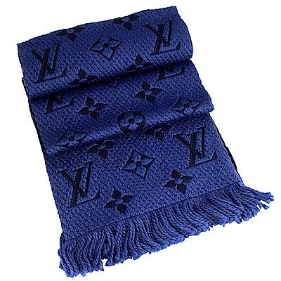 LV M70812 Monogram 經典LV紋繡花深藍色羊毛混紡圍巾