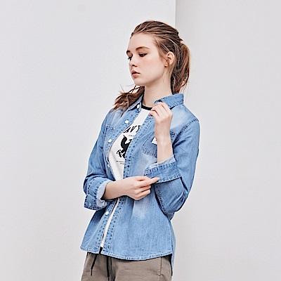 NAVY-刷色牛仔襯衫-情侶款-(兩色)-女【TNA011】