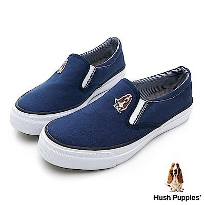 Hush Puppies  經典中性咖啡紗懶人鞋-深藍