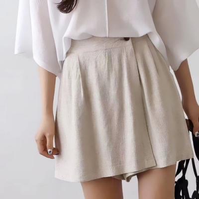 La Belleza素面鬆緊腰側拼接一片裙單釦棉麻短褲裙