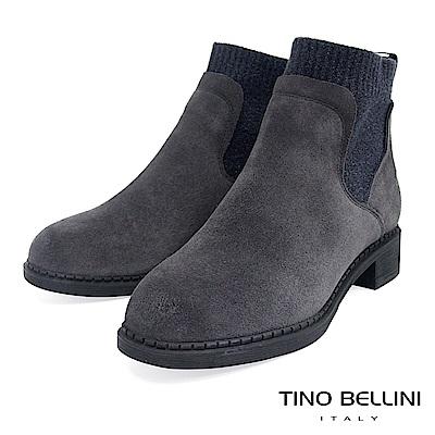 Tino Bellini 低調個性毛呢拼接低跟短靴 _ 灰