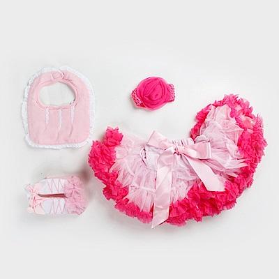 日安朵朵女嬰童蓬蓬裙禮盒組粉嫩小公主櫻花裙圍兜寶寶襪