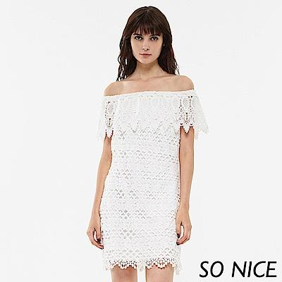 SO NICE浪漫一字領蕾絲小洋裝