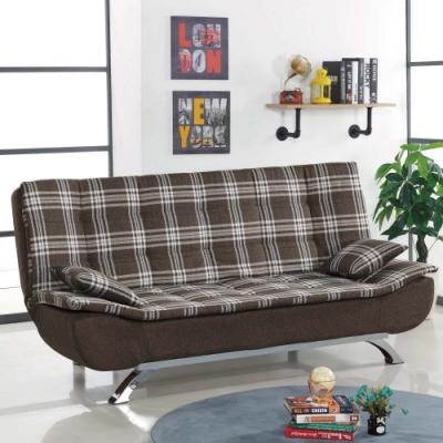 文創集 格藍登格紋亞麻布分段式沙發/沙發床(展開式機能設計)-182x75x82cm免組
