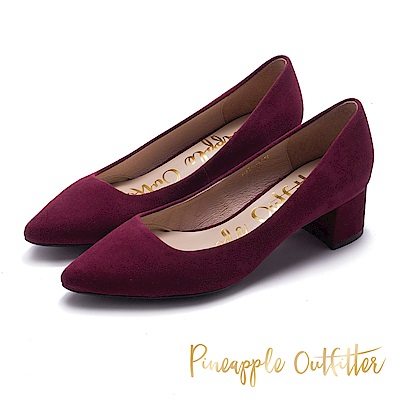 Pineapple Outfitter 時髦舒適感 麂皮尖頭粗跟鞋-絨酒紅
