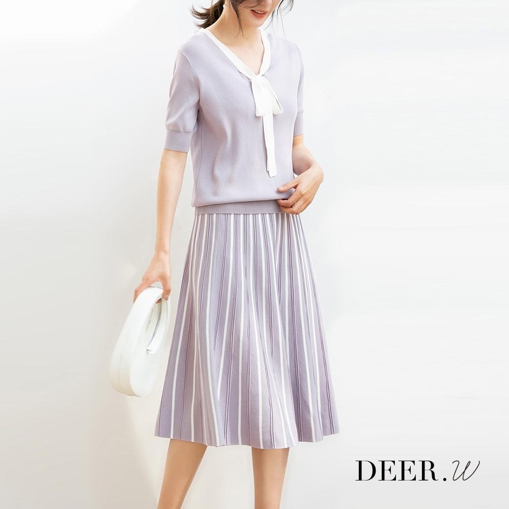 DEER.W 配色綁帶冰絲針織套裝(灰紫)
