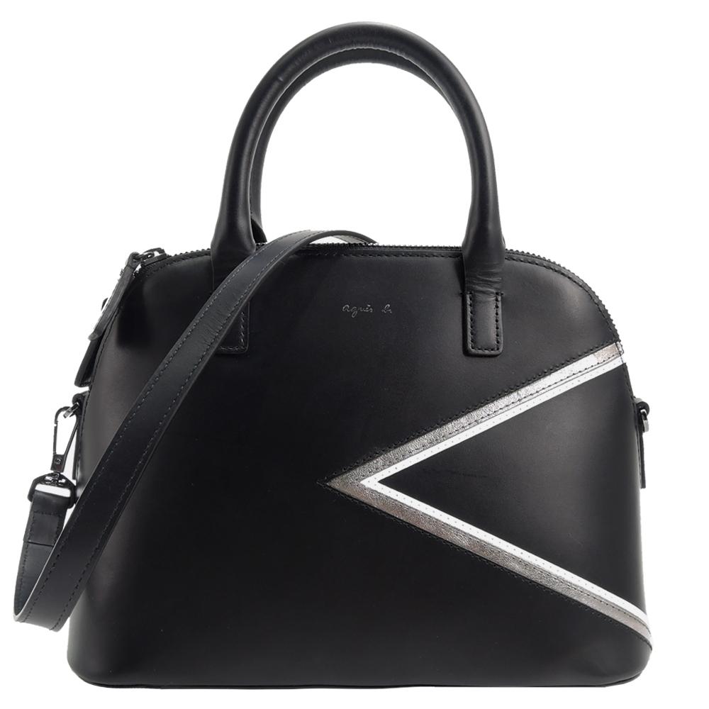agnes b. 燙金logo三角幾何皮革兩用包(黑/銀邊)