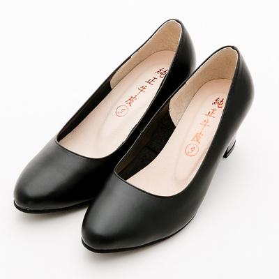 River&Moon舒適真皮通勤簡約素面中跟鞋 黑軟皮