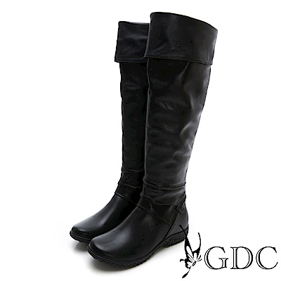 GDC-真皮秋冬歐美2WAY反摺長筒靴-黑色