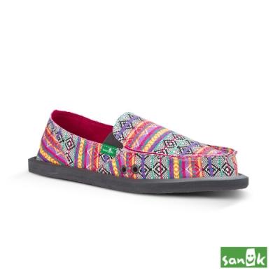 SANUK 女款 US6 部落民俗圖騰懶人鞋(桃紅色)