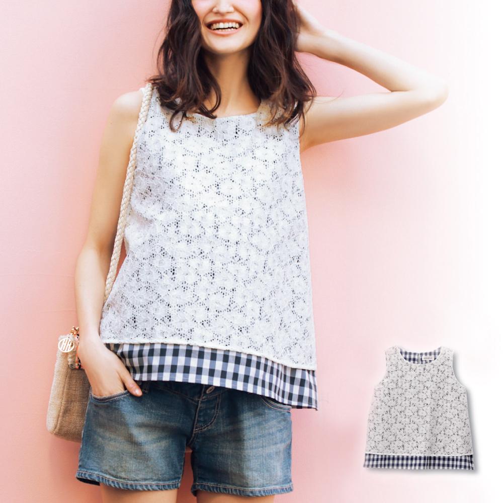 日本雜誌款-蕾絲花假兩件哺乳無袖上衣(深藍) product image 1