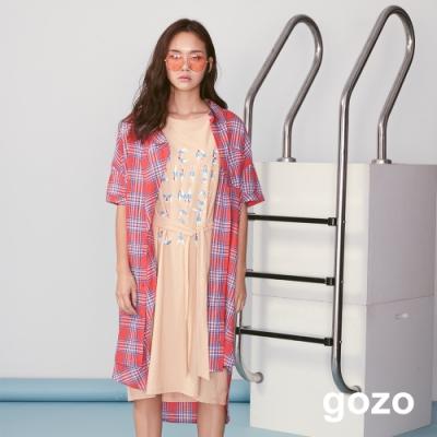 gozo 彩色格紋不對稱下擺襯衫洋裝(紅色)