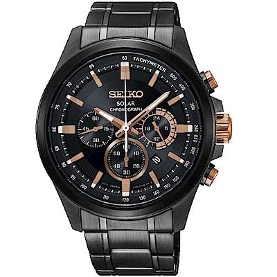 SEIKO精工Criteria台灣獨賣太陽能計時腕錶(SSC695P1)