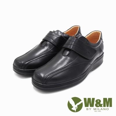 W&M(男)氣墊感厚底增高黏扣帶皮鞋 男鞋-黑