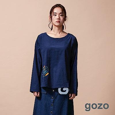 gozo 造型字母膠印燈芯絨上衣(二色)