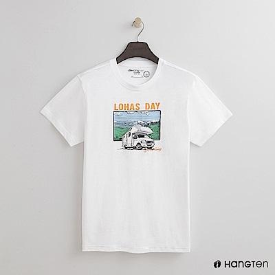 Hang Ten - 男裝 - 有機棉-樂活圖印圓領T恤 - 白