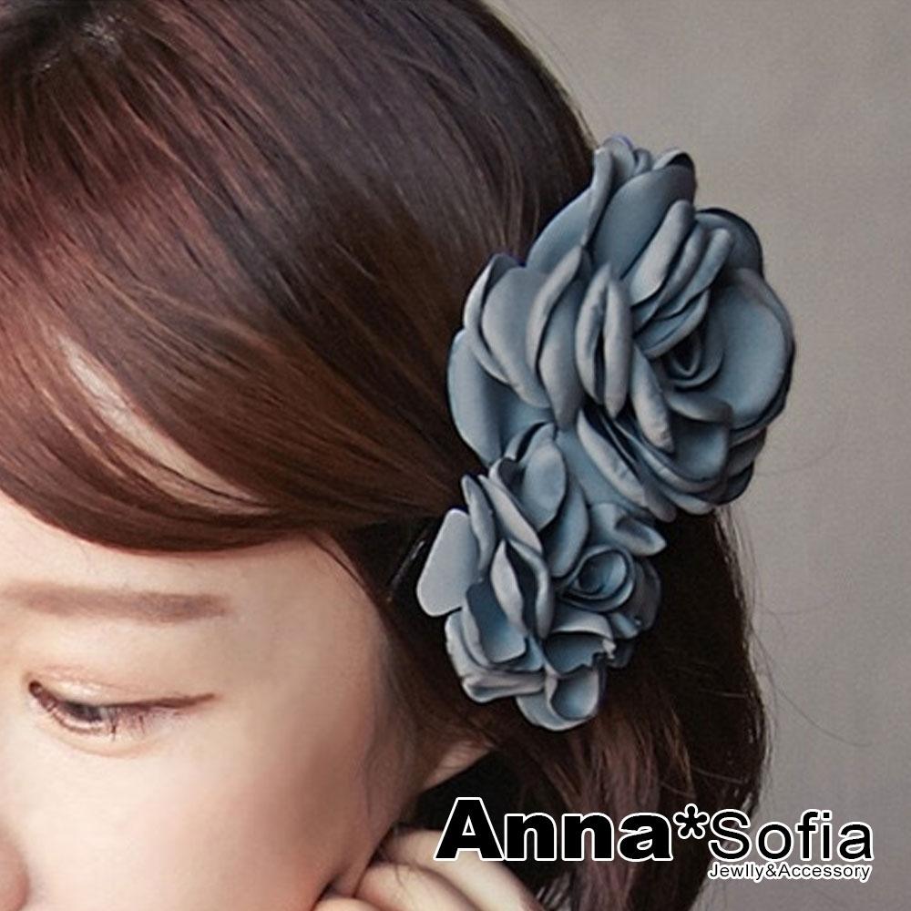 【2件7折】AnnaSofia 圓馨雙綣花 純手工中型髮飾髮夾(灰藍系)