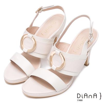 DIANA 名媛氣質--精湛工藝圓環真皮涼跟鞋-米