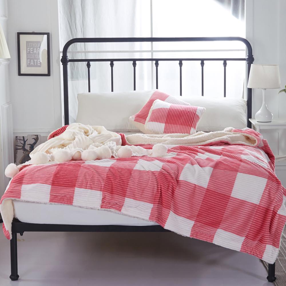 BUNNY LIFE 粉格-極柔牛奶絨羊羔絨雙層保暖毯