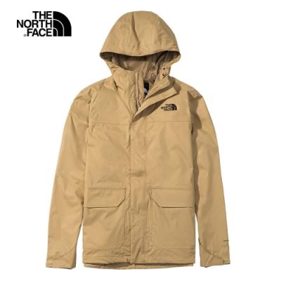 The North Face北面男款卡其色防水透氣連帽衝鋒衣|4NEDPLX