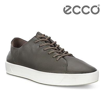 ECCO SOFT 8 M 柔軟皮革簡約休閒鞋 男-綠