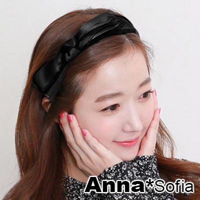 【滿額再7折】AnnaSofia 黑紗緞帶層結 韓式髮箍(黑緞帶系)