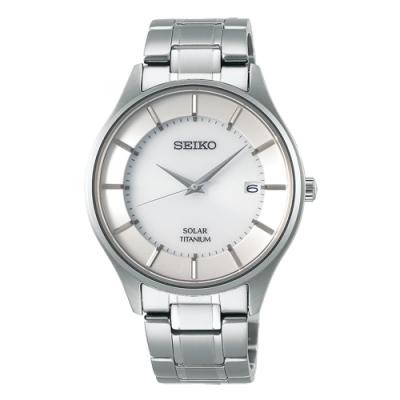 SEIKO 精工SPIRIT鈦金屬太陽能對錶-銀色SBPX101J