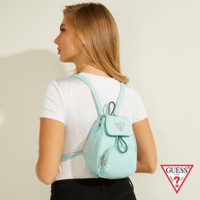 GUESS-女包-俏皮簡約純色迷你後背包-淺藍 原價2290