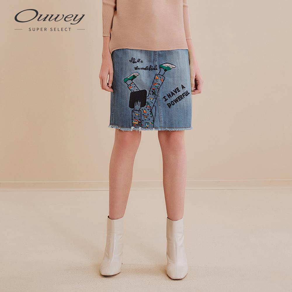 OUWEY歐薇 異想人物刺繡牛仔裙(藍)