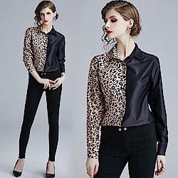 時尚豹紋雙色拼接排釦襯衫S-XL-M2M