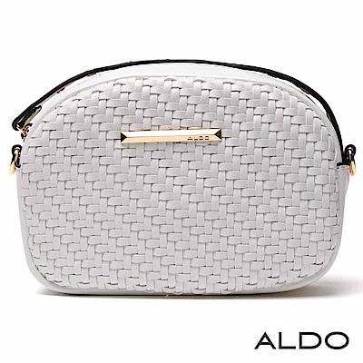 ALDO 幾何交叉編織帶金屬LOGO雙揹帶包~氣質白色